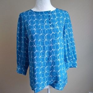 NWOT Annie Griffin Blouse Geometric Pattern